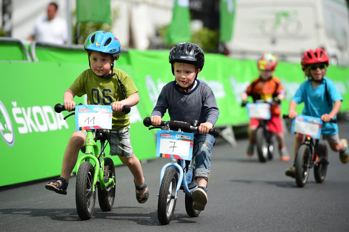 Children compete in walking bike race in Berlin, Germany