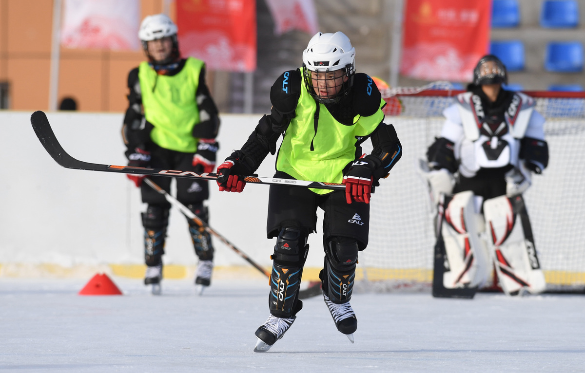 hockey practice at Wenyun County Primary in Altay, China