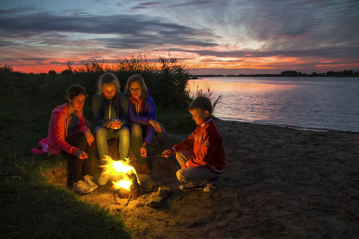 camping with mother and three children