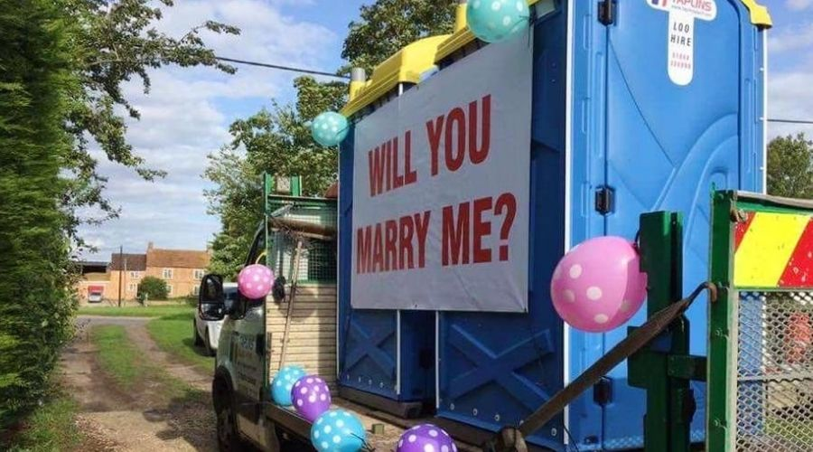 portapotty proposal will you marry me