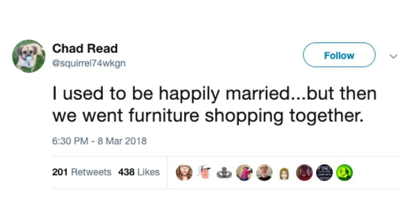 furniture shopping tweet about marriage