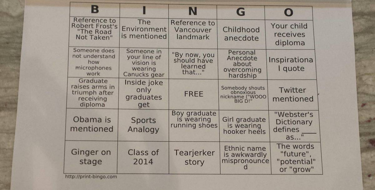graduation bingo cards from reddit