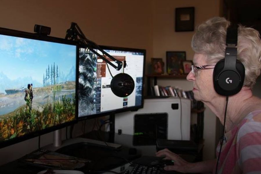shirley gaming grandma video game skyrim playing