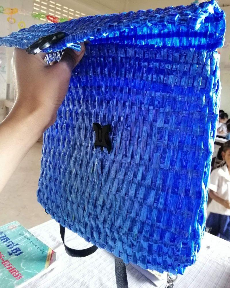 woven backpack raffia string