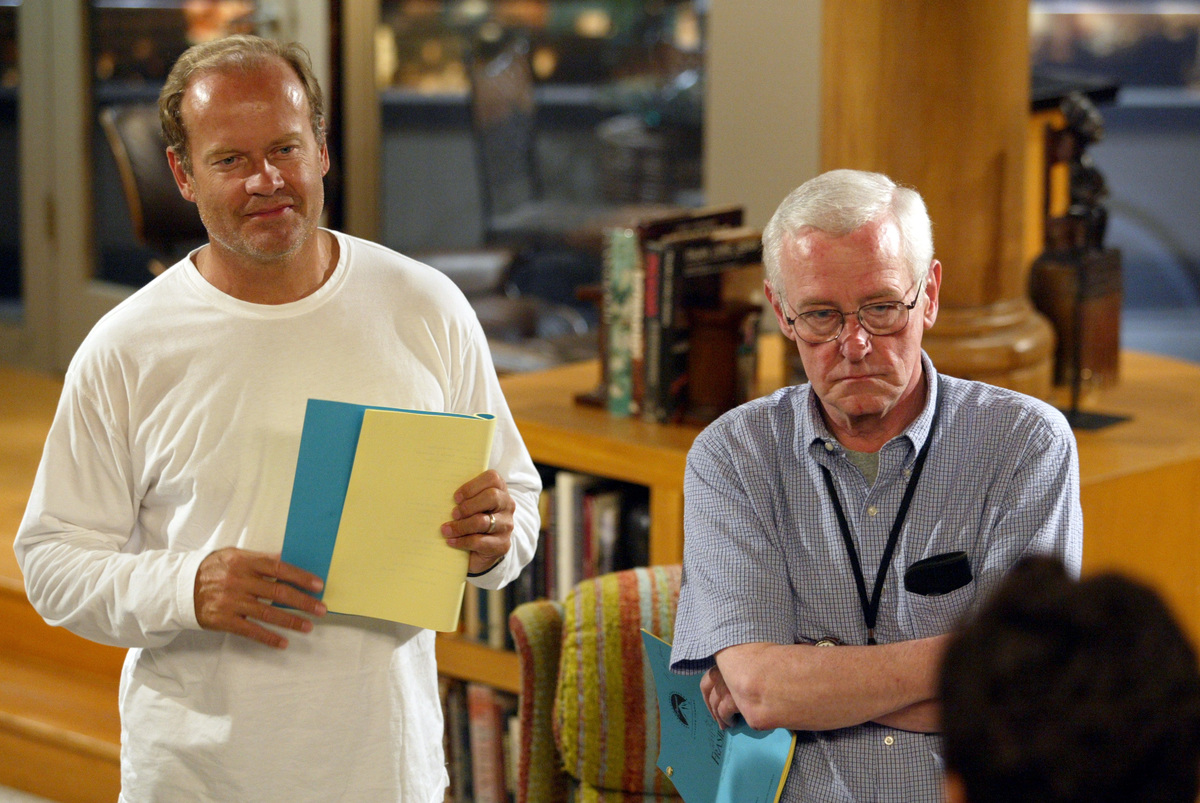 Kelsey Grammer and John Mahoney on the set of FRASIER which is in its final season, August 11, 2003.