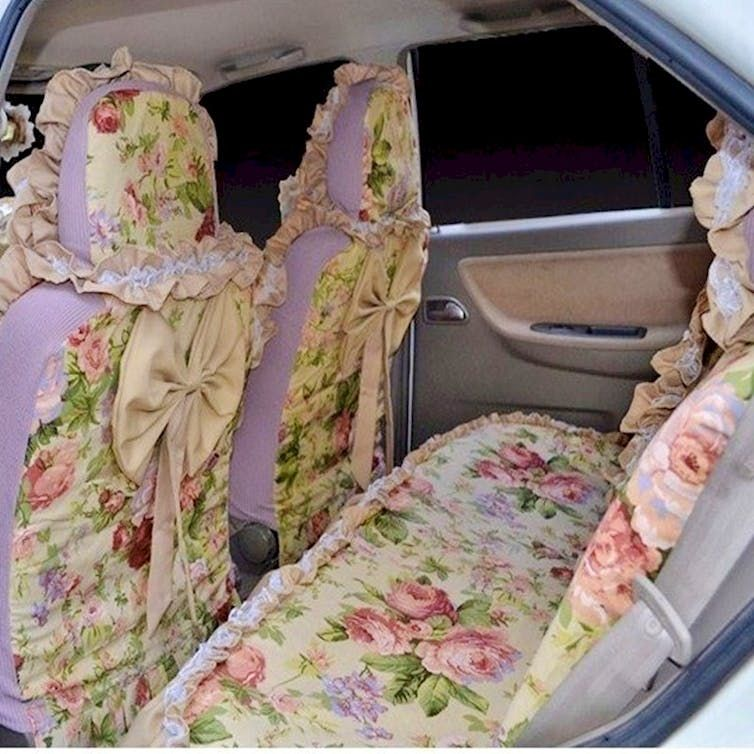 floral upholstery on a car lots of bows frills and ribbons