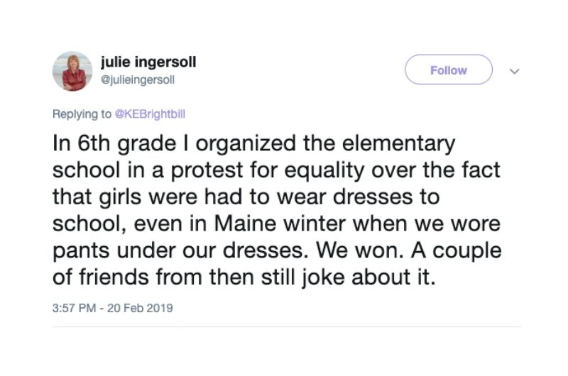 tweet about school protest for equality