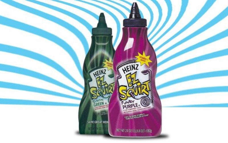 EZ SQuirt colored ketchup in green and purple