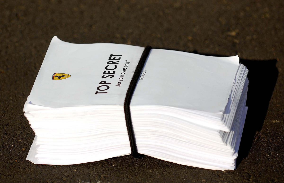 stack of 'top secret' files that say 'for your eyes only'