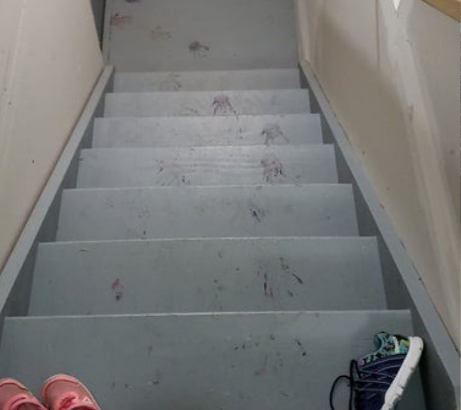 toddler handprints up basement stairs purple paint looks like a horror movie