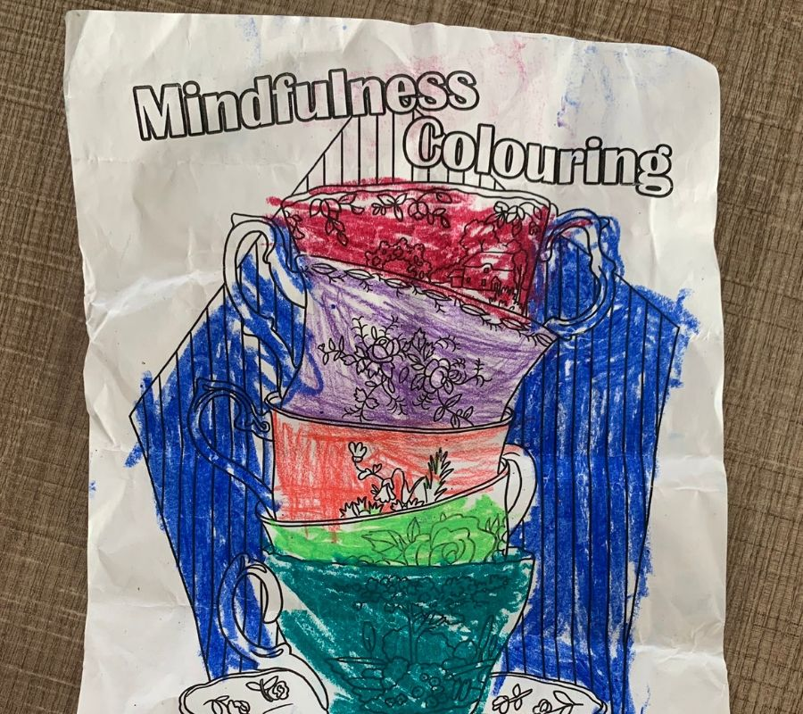 mindfullness coloring page scribbles all over it