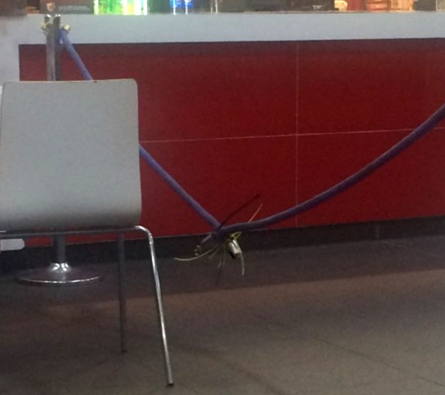 combination lock holding rope together at kfc