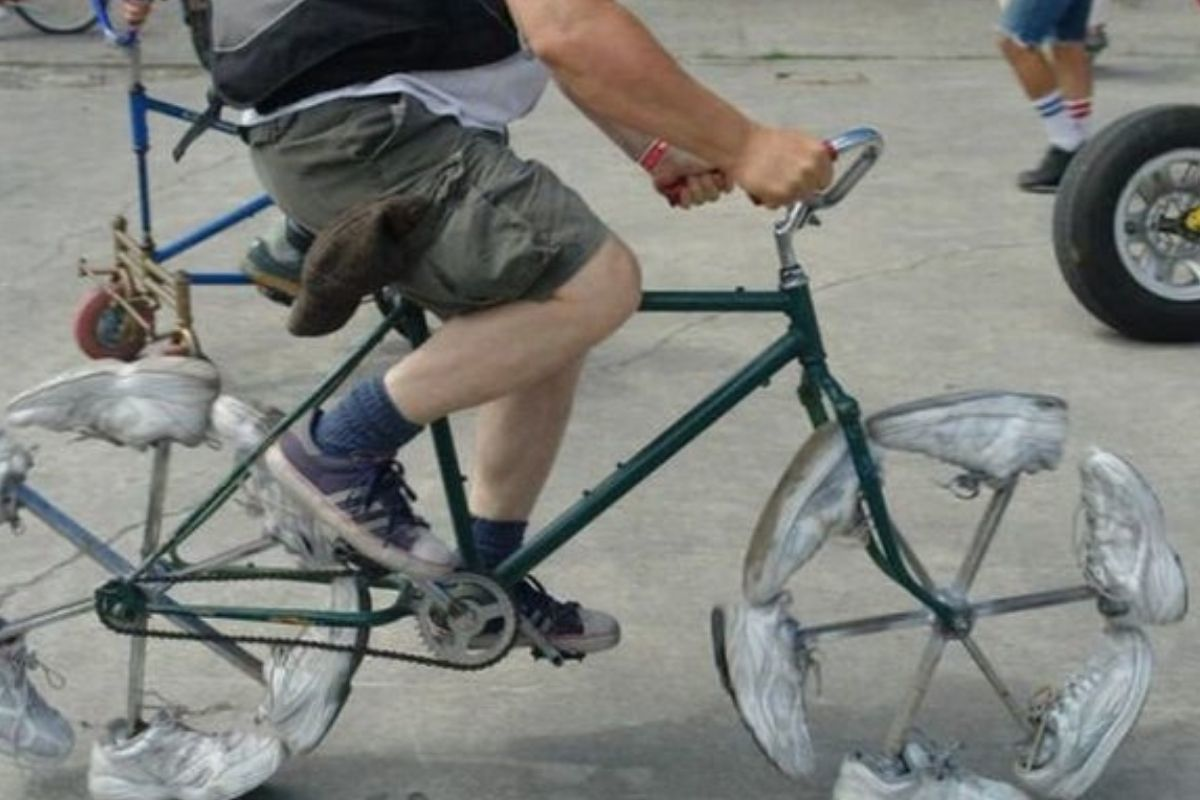 bike dude riding it sneakers instead of tires