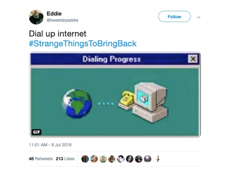 dial up internet tweet someone wants to bring it back