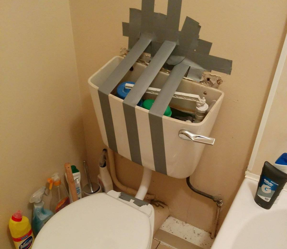 duct tape toilet repairman