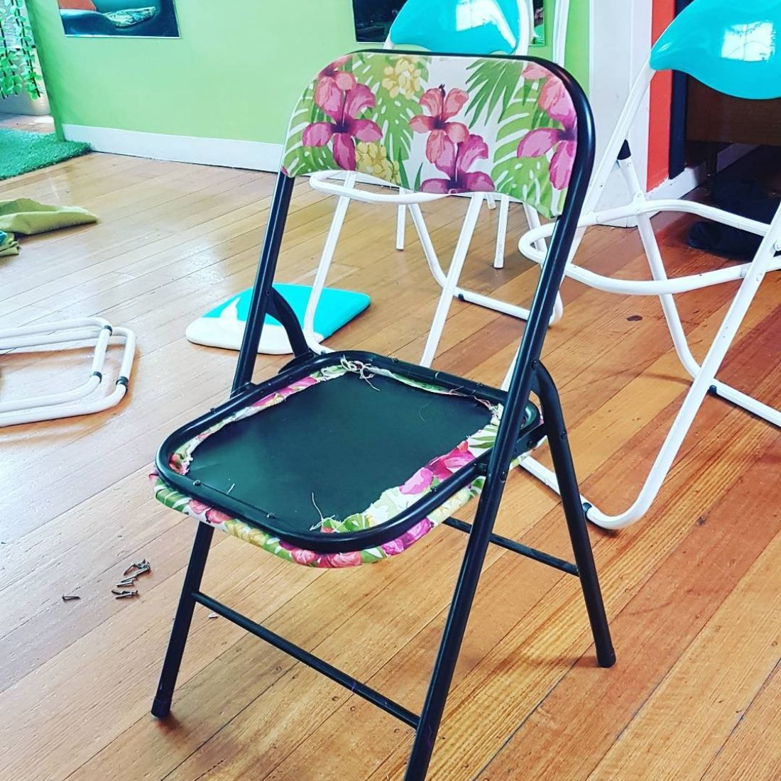 attempting to re-upholster chairs