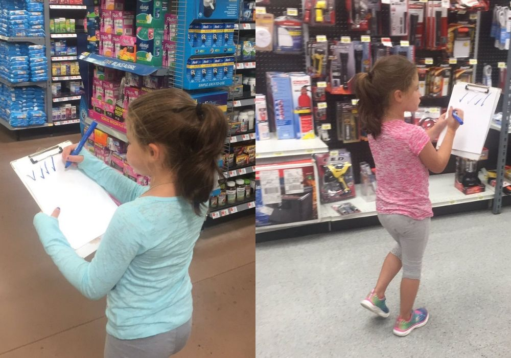 little girl who brings clipboard to stores and makes random checkmarks