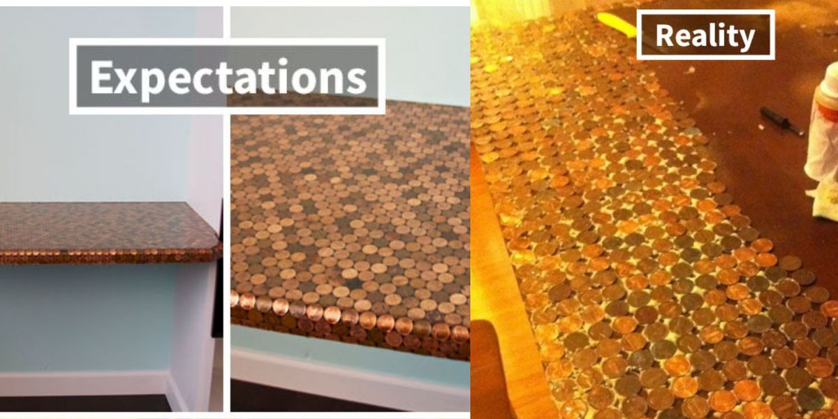 table covered in pennies DIY fail