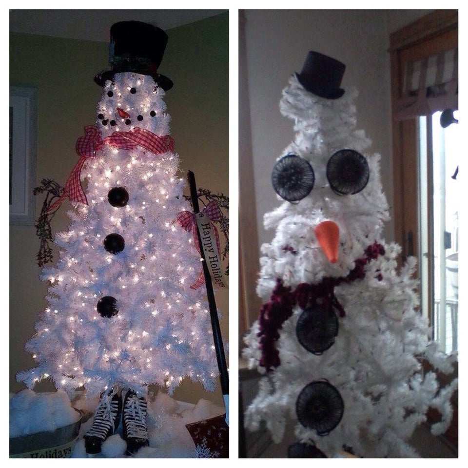 snowman tree with giant creepy eyes