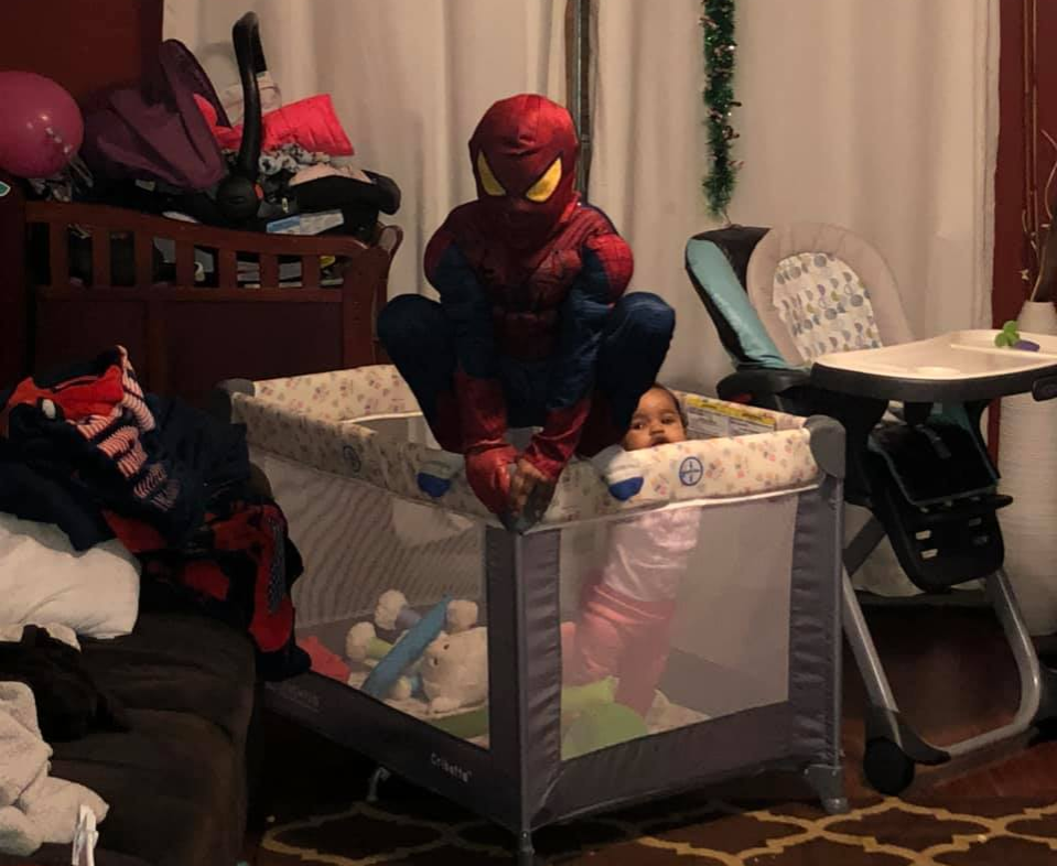 spiderman watching over his sister