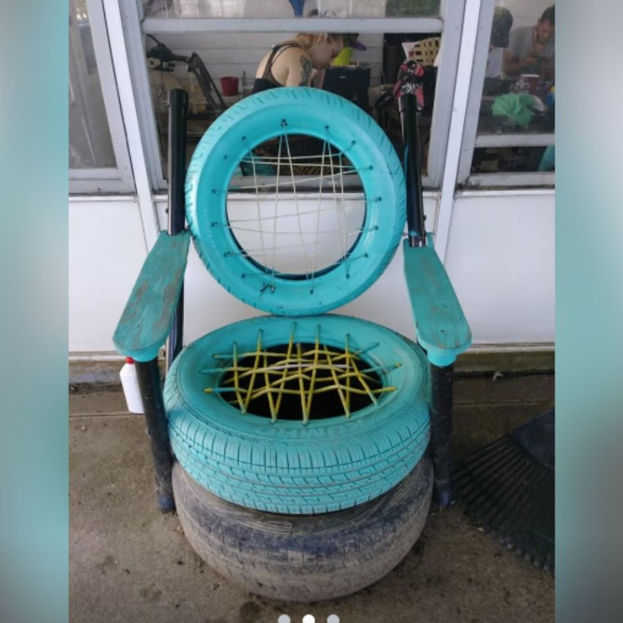 chair made of recycled tires