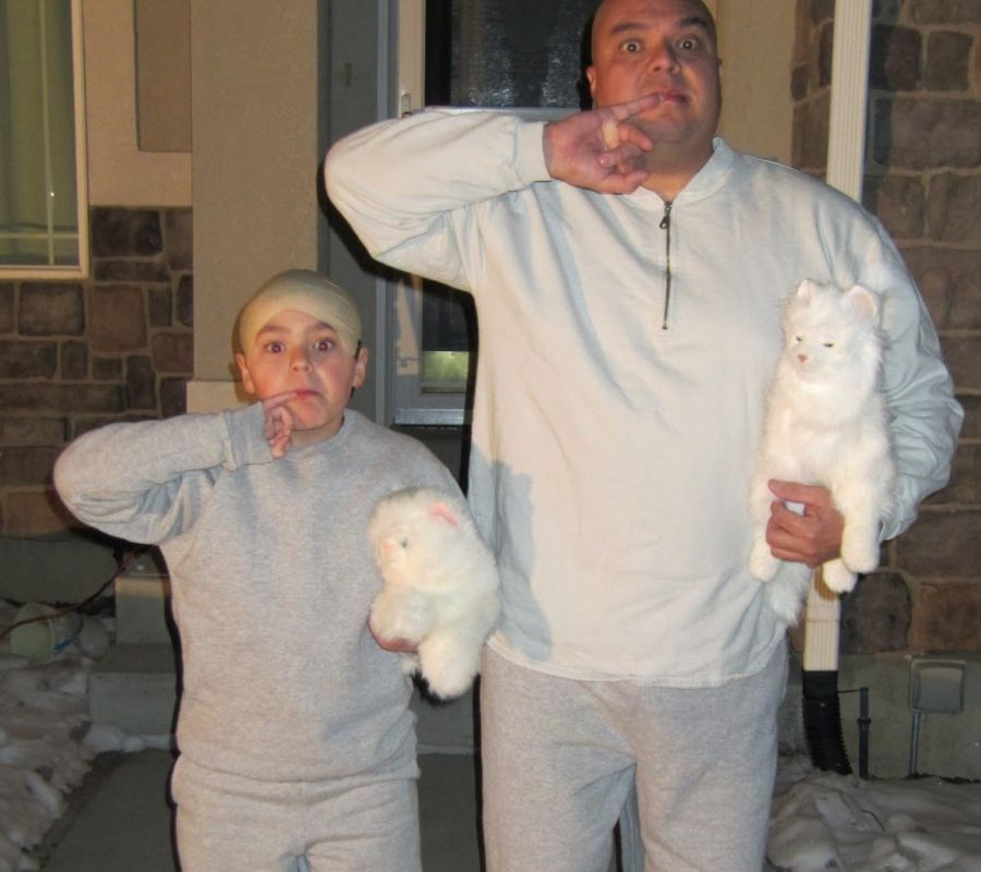 dad and son dressed up as dr evil and mini me austin powers