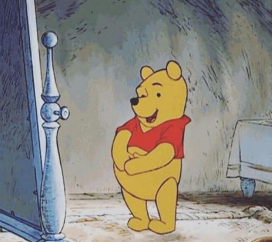 winnie the pooh standing in front of a mirror