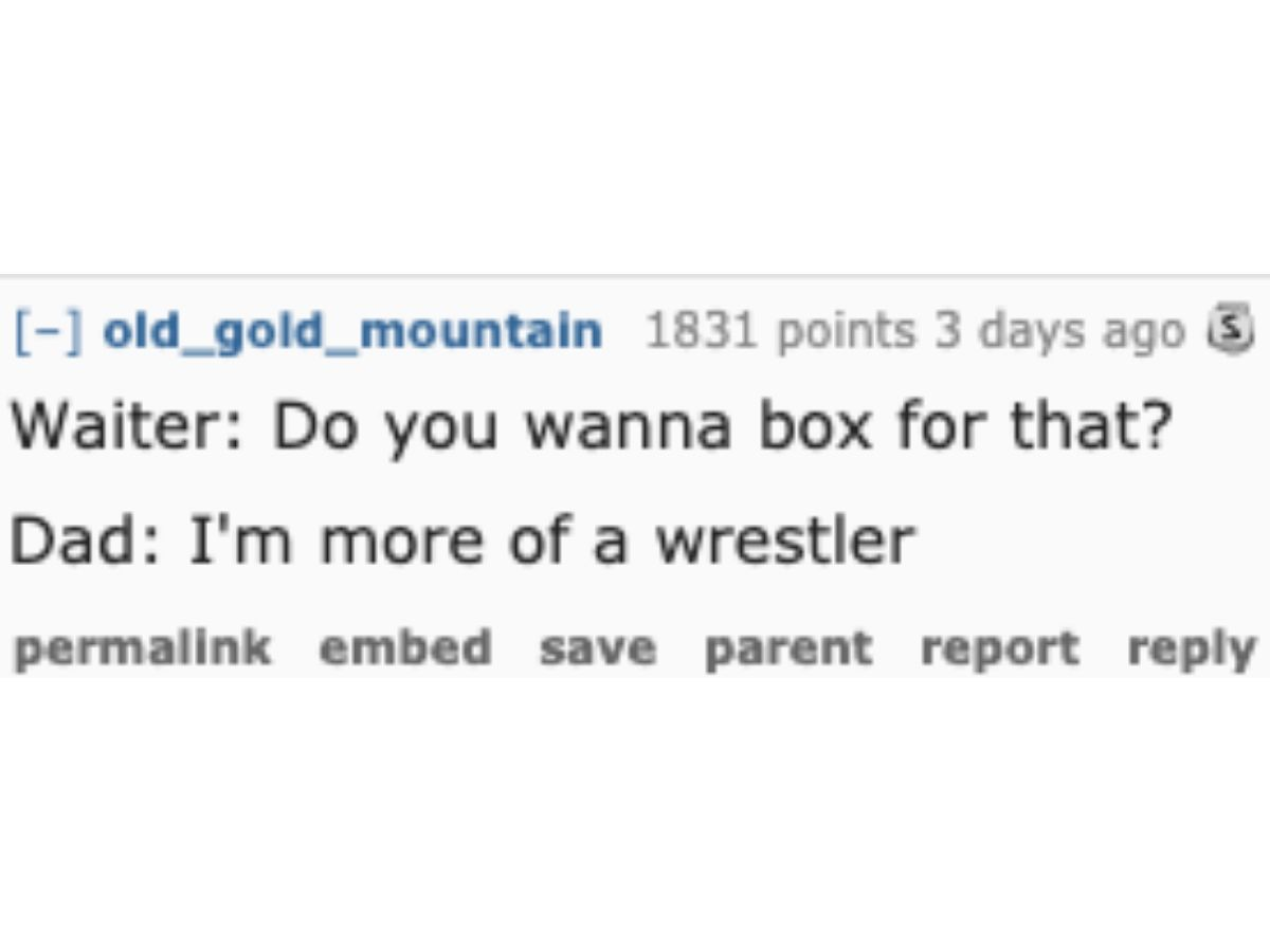 dad joke about waiters wanting to box