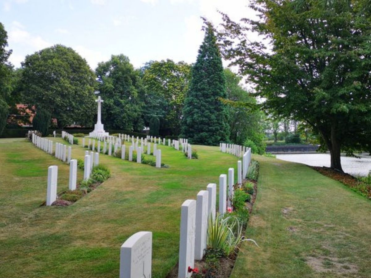 sloping cemetary graves