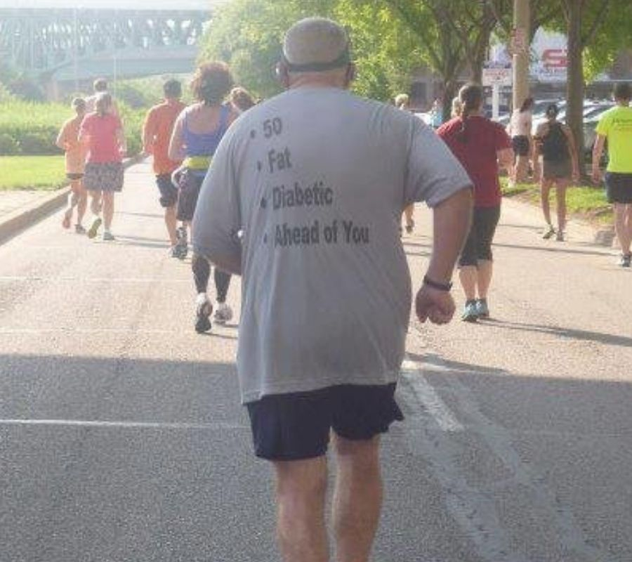 grandpa running with tshirt that says 50 fat diabetic ahead of you