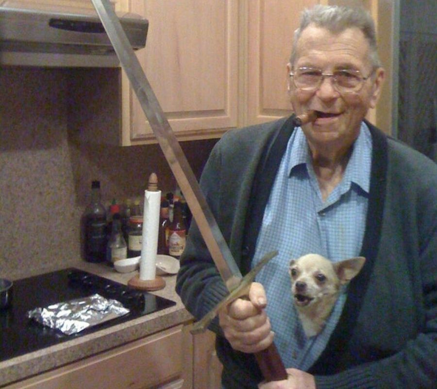 grandpa with sword and doggie