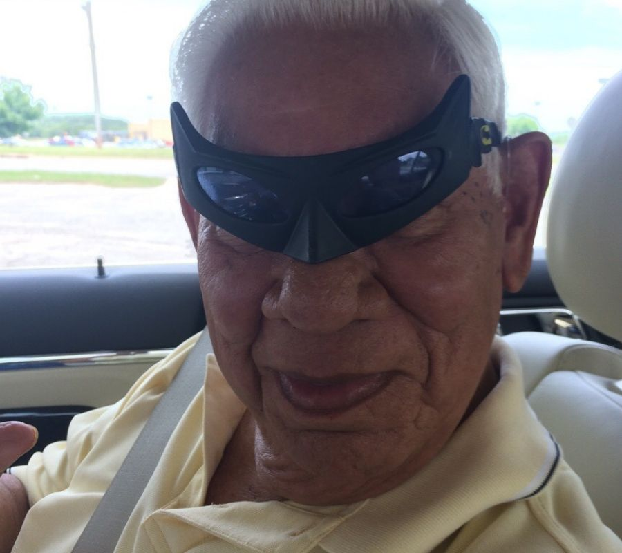 grampa with batman glasses on