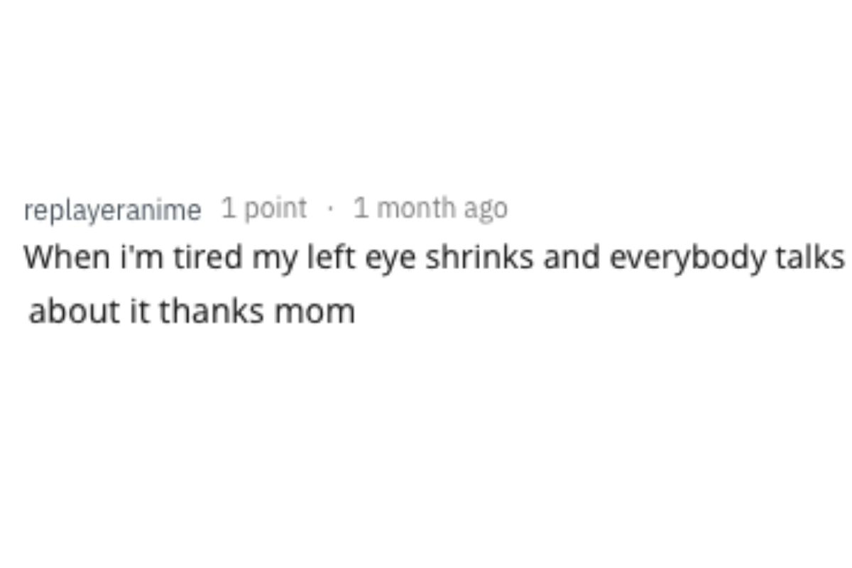 left eye shrinks when person is tired
