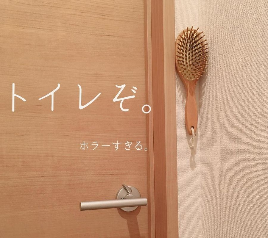 hairbrush stuck in the wall