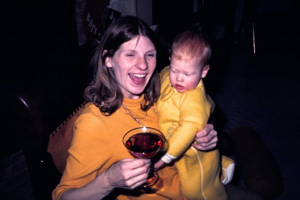 mom partying with baby