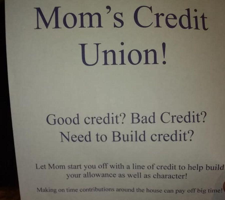 mom's credit union sign