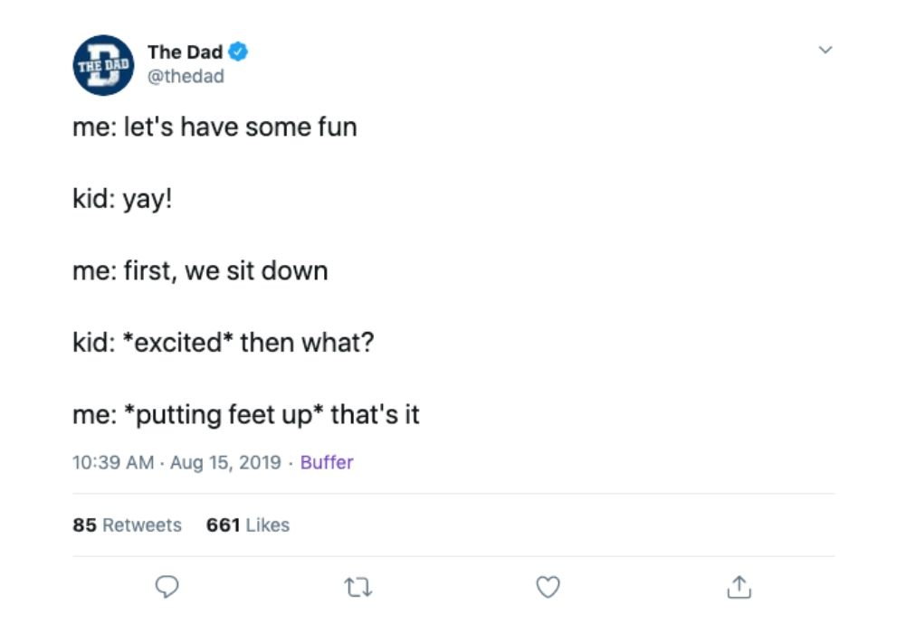 put your feet up tweet about dads having fun