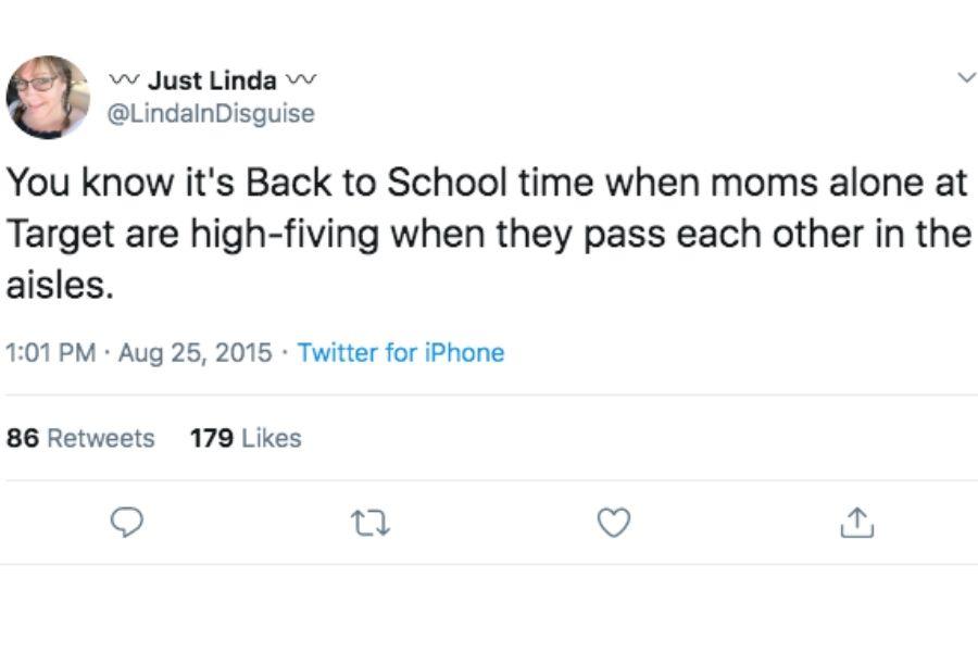 just linda tweet back to school high fiving in target