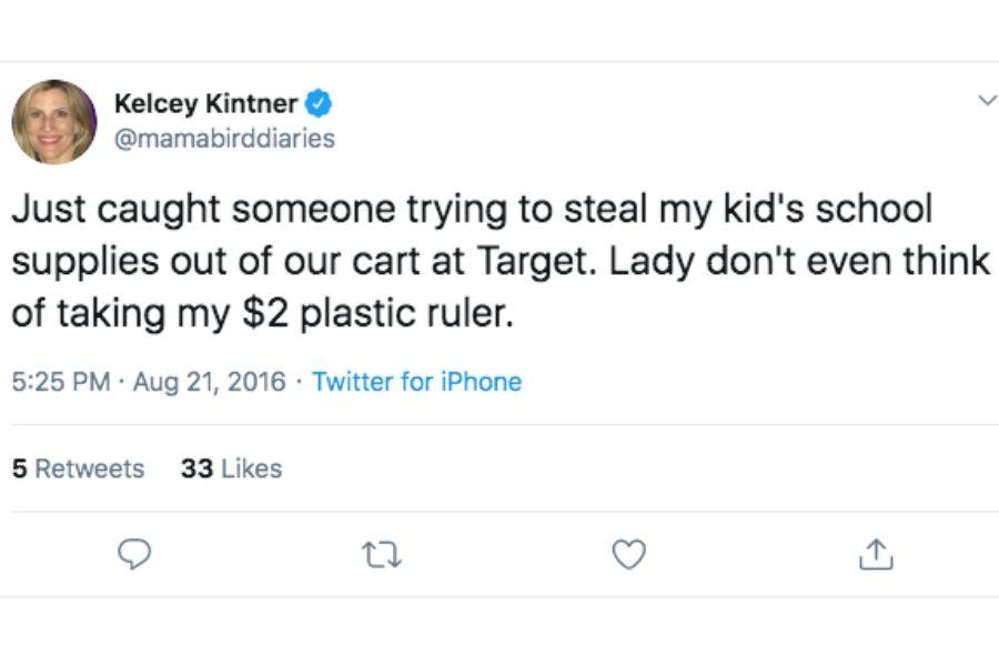 mamabirddiaries tweet catching someone stealing school supplies