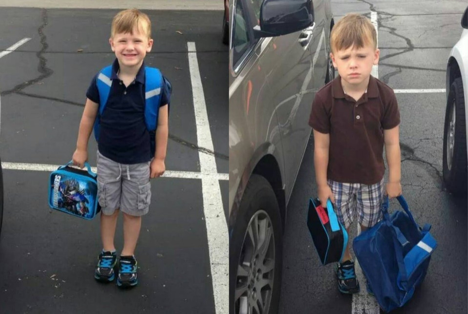 boy posing for first day of school vs second
