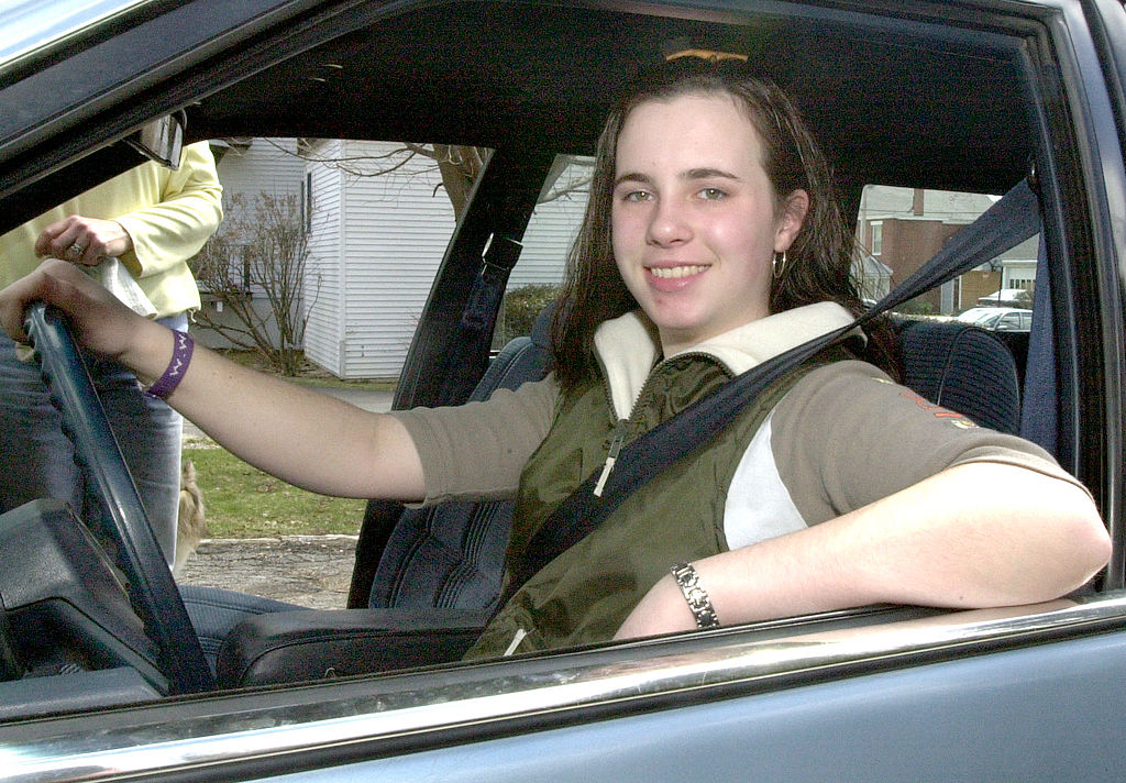 New teen driver in her family car