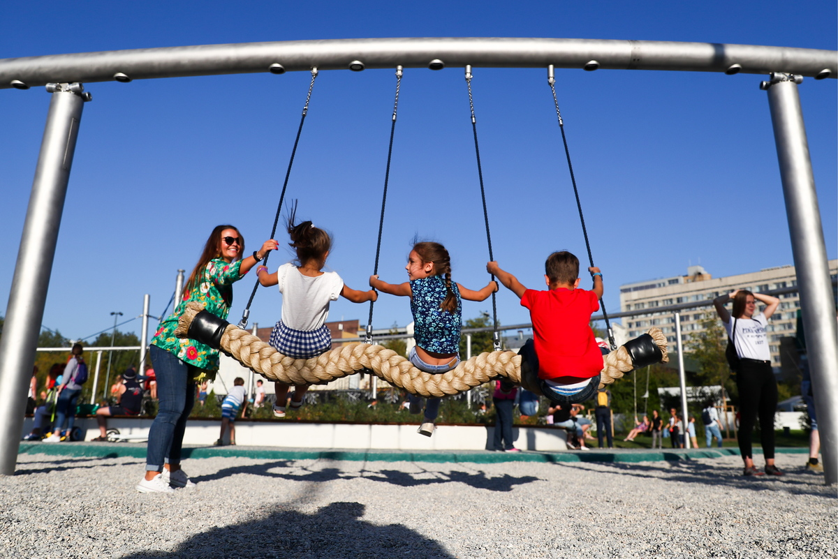 children in moscow's gorky park