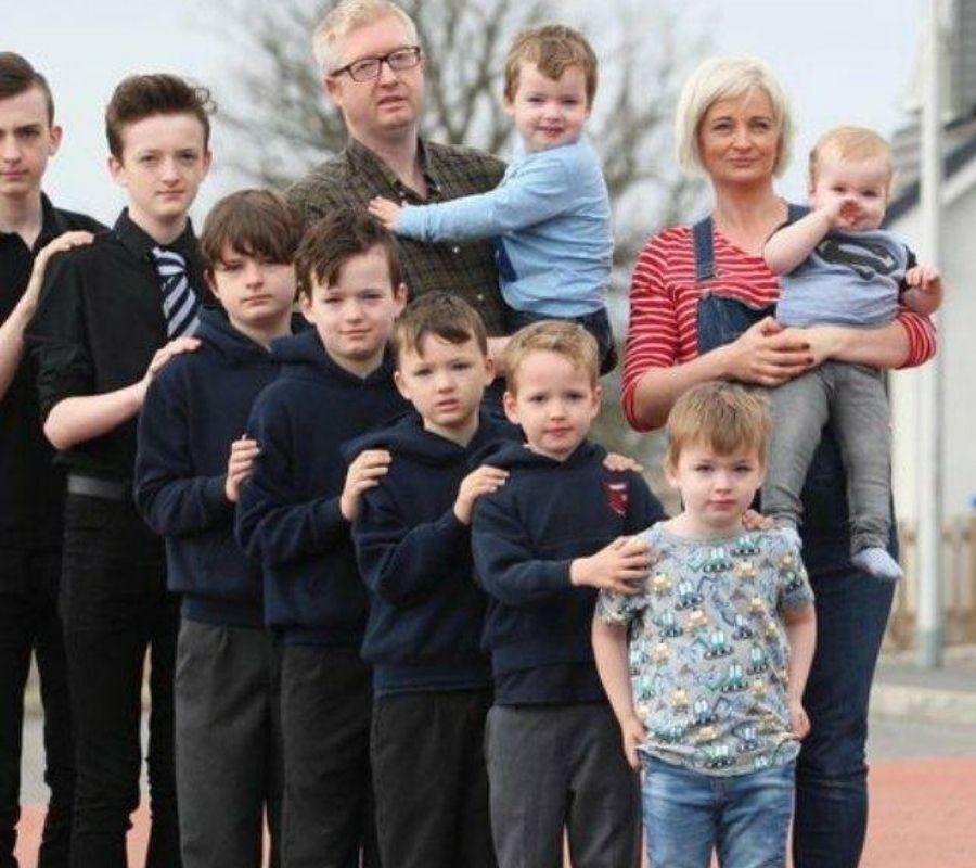 mom with kids many kids