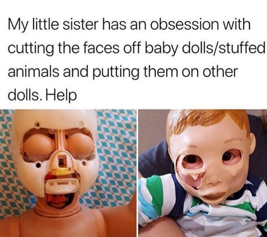 cutting faces off dolls