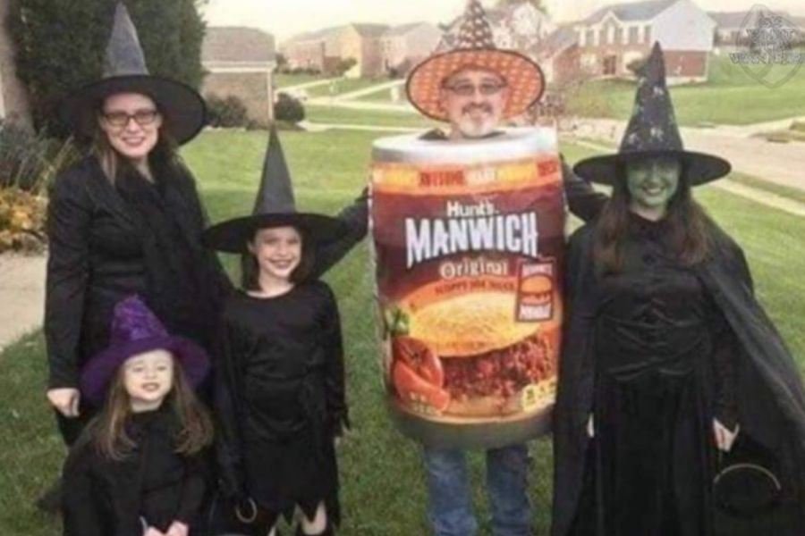 dad and witches in a man which costume