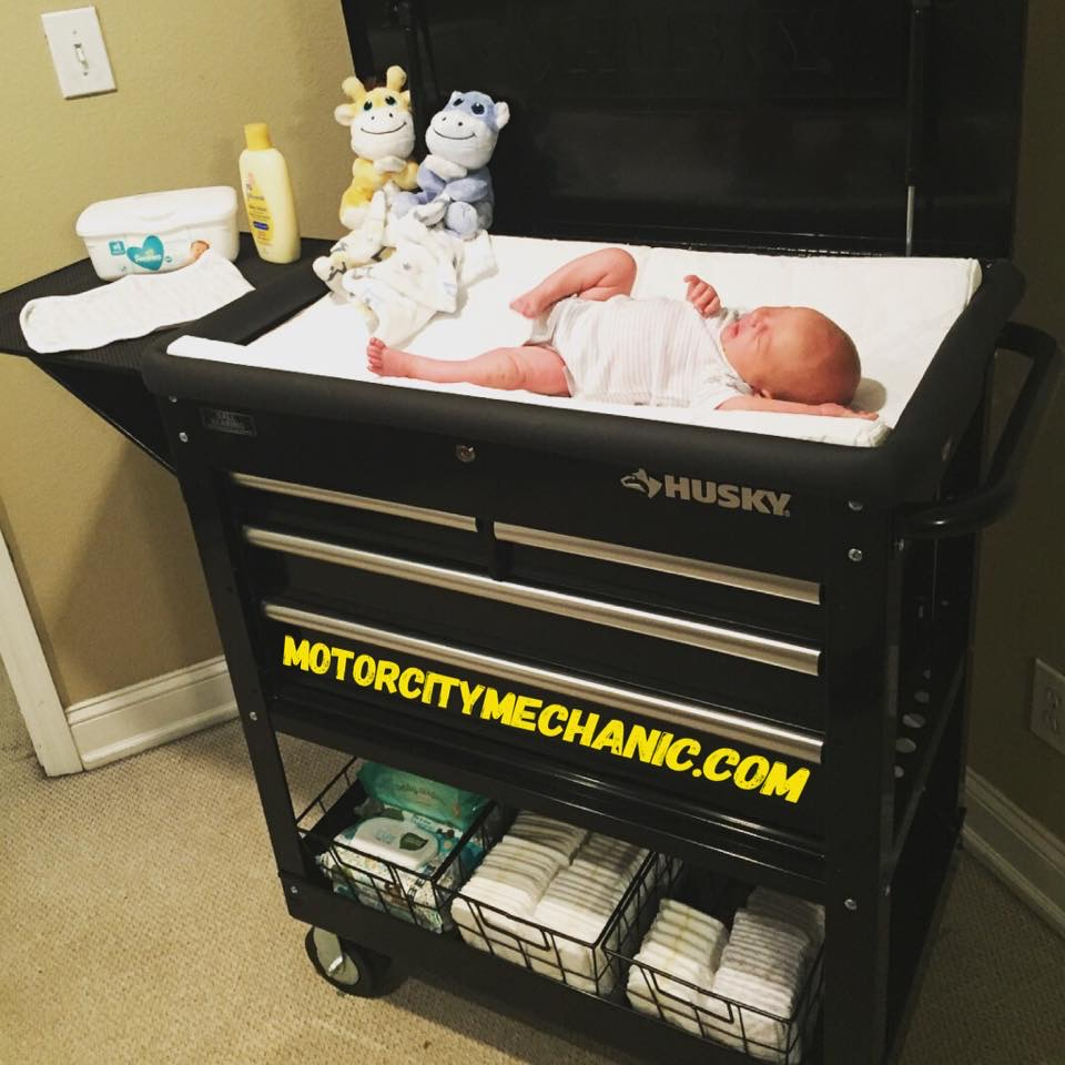 Photo of change table with baby on top