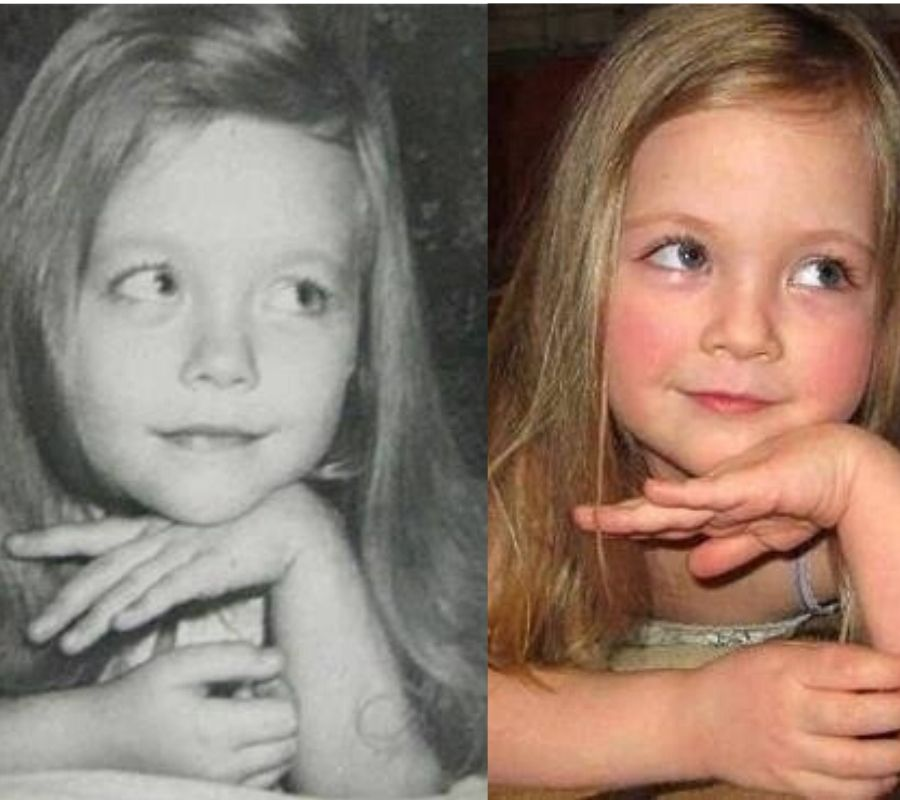 pictures of a mother and daughter at the same age making the same pose