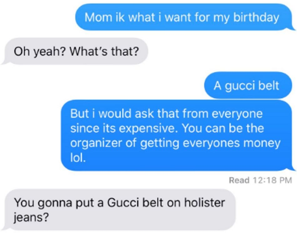 Mom asks why daughter would want a Gucci belt for Hollister jeans