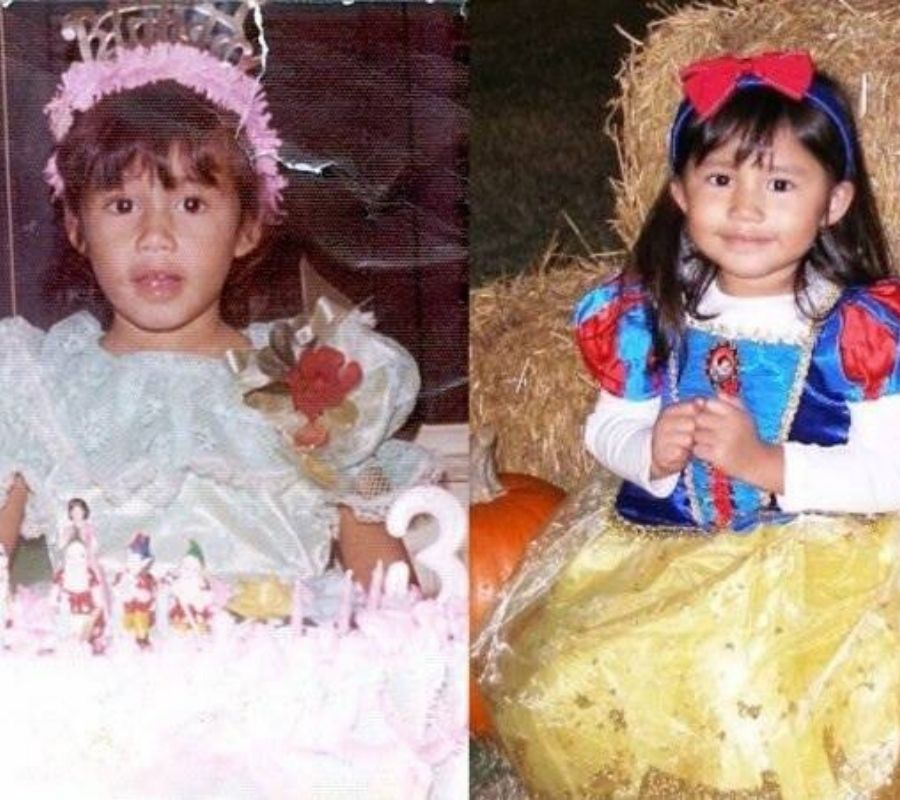 a mother and daughter both dressed in princess costumes at age 3
