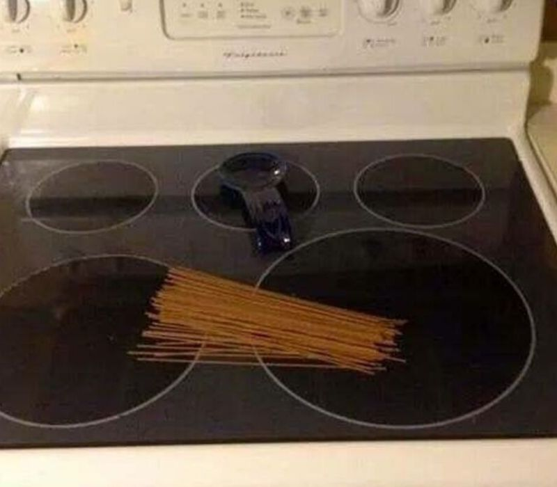 spaghetti on stove
